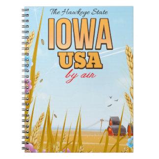 """L'Iowa Etats-Unis """"affiche de voyage de bande Carnets À Spirale"""