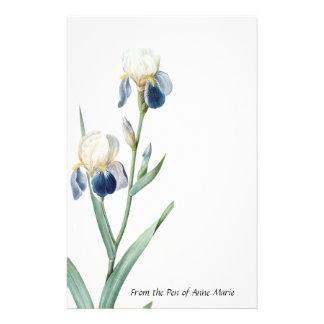 L'iris bleu botanique fleurit la papeterie florale
