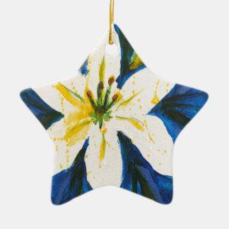 Lis blanc sur la collection bleue par Jane Ornement Étoile En Céramique