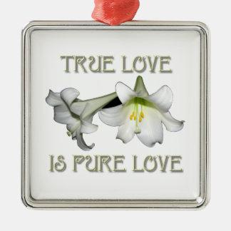 Lis de Pâques blancs : L'amour vrai est amour pur Ornement Carré Argenté
