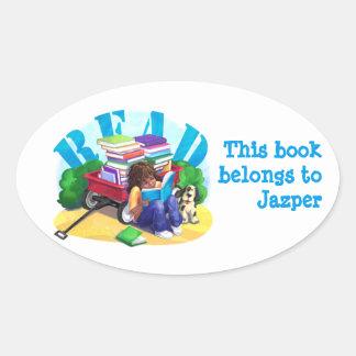 LISEZ l'autocollant personnalisé de livre de Sticker Ovale