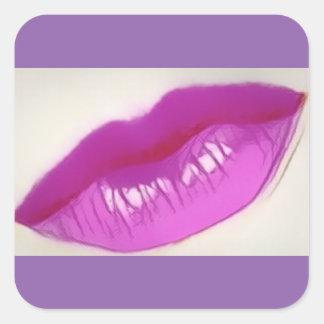 Lisez mes lèvres ! Aucune enveloppe de cadeau Sticker Carré