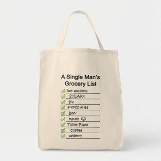 Liste de l'épicerie d'un homme simple sac en toile épicerie