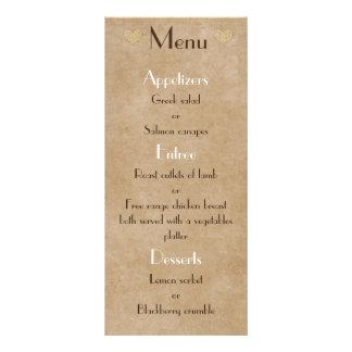 Liste rustique de menu de mariage de coeur de sac