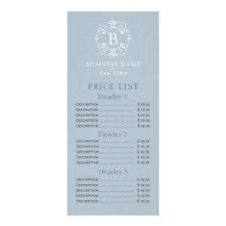 Listes des prix élégantes de monogramme de bleu carte publicitaire