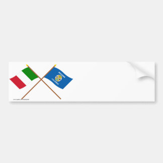L'Italie et les drapeaux croisés par Calabre Autocollant De Voiture