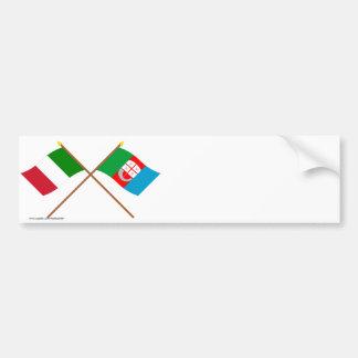L'Italie et les drapeaux croisés par Ligurie Autocollant De Voiture