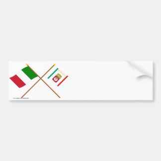 L'Italie et les drapeaux croisés par Puglia Autocollant De Voiture