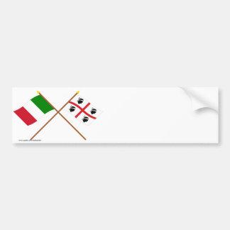 L'Italie et les drapeaux croisés par Sardegna Adhésif Pour Voiture
