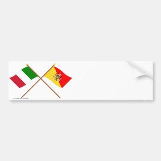 L'Italie et les drapeaux croisés par Sicilia Autocollant De Voiture