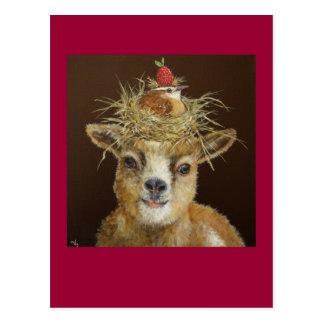 Livin haut sur la carte postale de chèvre