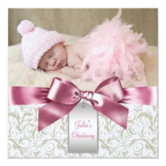 L'ivoire rose tourbillonne baptême de photo de carton d'invitation  13,33 cm