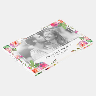 Livre d'invité chic floral élégant de mariage de