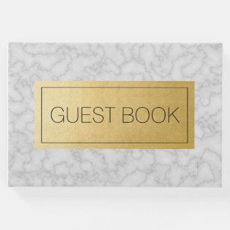 Livre d'invité de marbre élégant de mariage