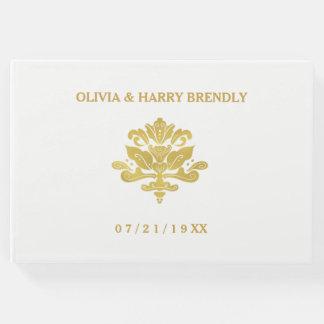 Livre d'invité de mariage avant de | blanc et d'or