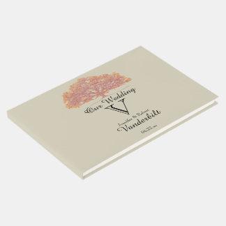 Livre d'invité de mariage de chêne de chute