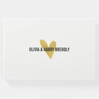 Livre d'invité de mariage de coeur d'or