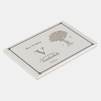 Livre d'invité de mariage de croquis de chêne