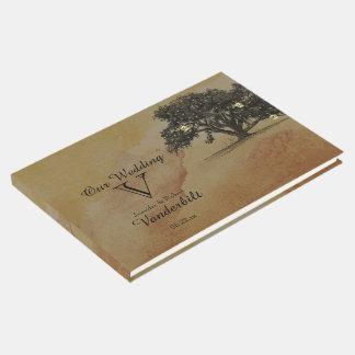 Livre d'invité de mariage de lanterne de chêne de