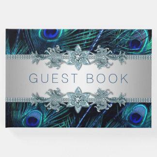Livre d'invité de mariage de paon de bleu royal