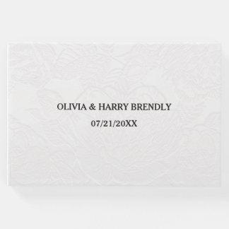 Livre d'invité de mariage - floral blanc élégant