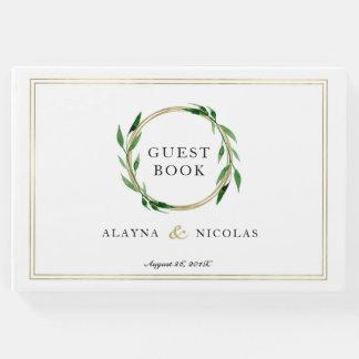 Livre d'invité d'or de mariage de guirlande de
