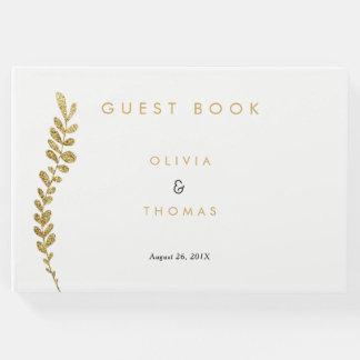 Livre d'invité Editable de mariage de feuille d'or