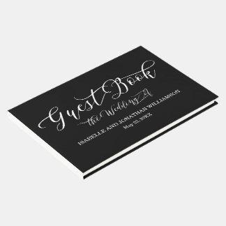 Livre d'invité élégant blanc de noir de fantaisie