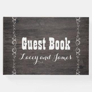 Livre d'invité en bois de mariage campagnard
