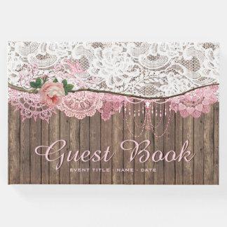 Livre d'invité en bois de mariage de baby shower