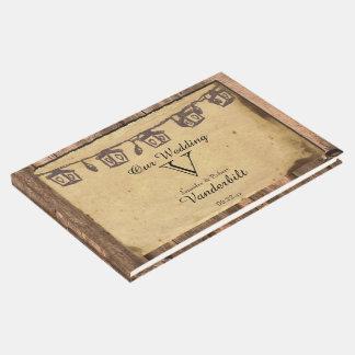 Livre d'invité en bois de mariage de lanterne de