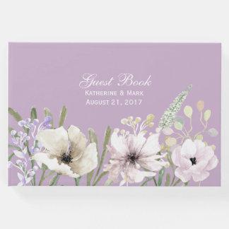 Livre d'invité floral de mariage de lavande