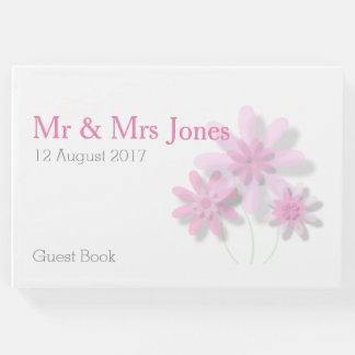Livre d'invité floral rose de mariage