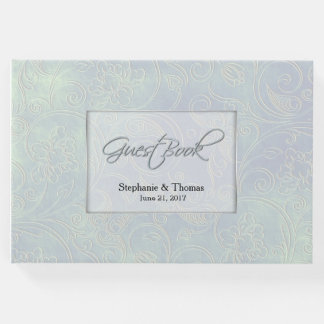 Livre d'invité iridescent chic de mariage de perle