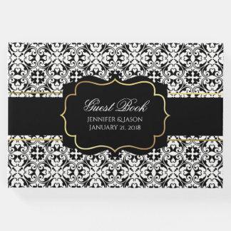 Livre d'invité noir et blanc de mariage damassé