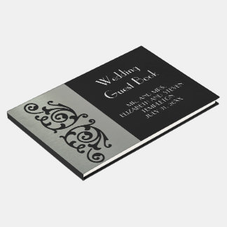 Livre D'or Argent élégant et Guestbook noir de mariage