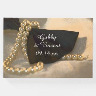Livre D'or Cravate d'arc noire et épouser blanc de perles