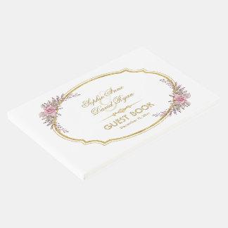 Livre D'or Élégant rougissent le mariage floral de cadre d'or