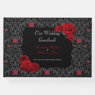 Livre D'or Faire-part de mariage noir et rouge de rose