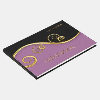 Livre D'or Guestbook pourpre-noir élégant