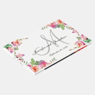 Livre D'or Le monogramme floral élégant appelle le mariage de