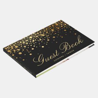 Livre D'or Les confettis noirs de feuille d'or de Faux