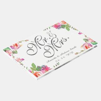 Livre D'or M. et Mme chics floraux élégants Script Photo