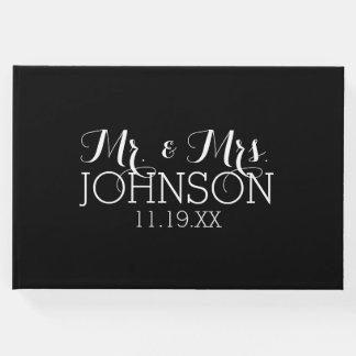 Livre D'or M. et Mme Wedding Favors de noir de couleur solide