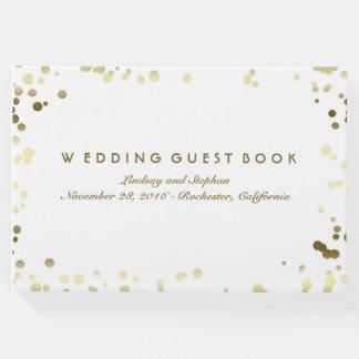 Livre D'or Mariage élégant blanc de confettis d'or