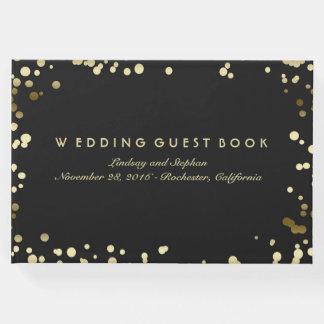 Livre D'or Mariage élégant de noir de confettis d'or