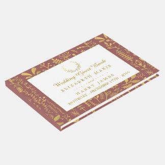 Livre D'or Mariage floral de guirlande d'or élégant
