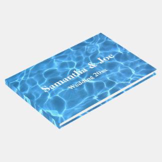 Livre D'or Mariage personnalisé par photo bleue de piscine