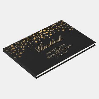 Livre D'or Noir et points de confettis d'or