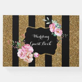 Livre D'or Or et mariage vintage floral de rayures de noir